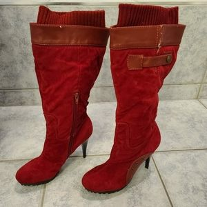 Bumper red boots tall size 8